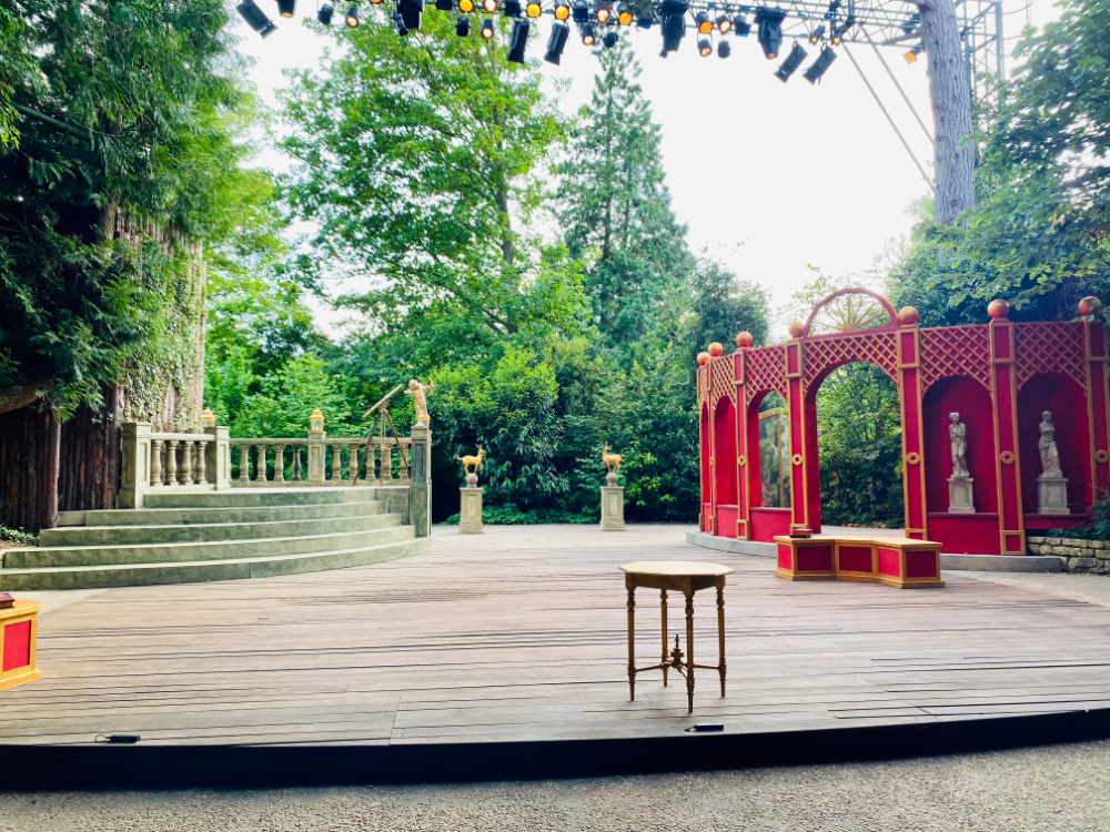 outside stage set for shakespeare