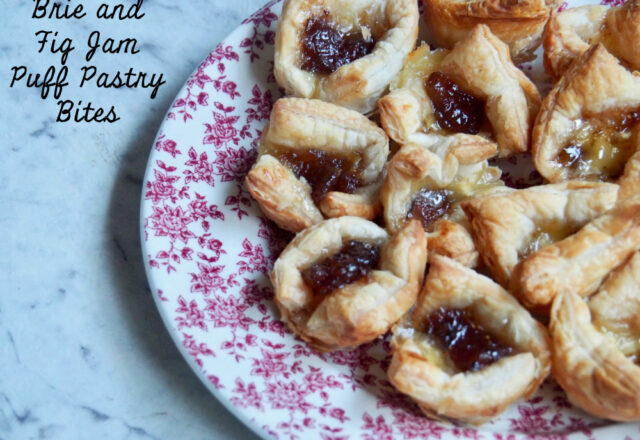 3 Ingredient Brie and Fig Jam Puff Pastry Bites