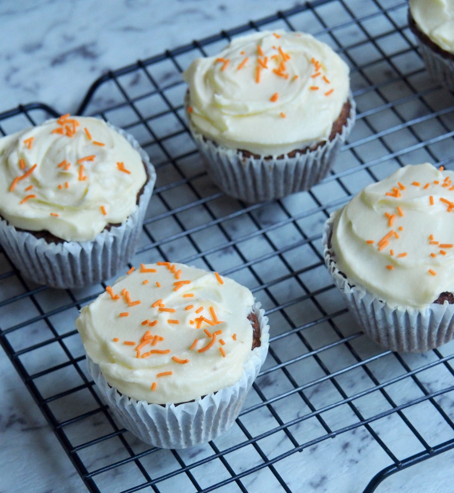 carrot cupcakes on cooling rack