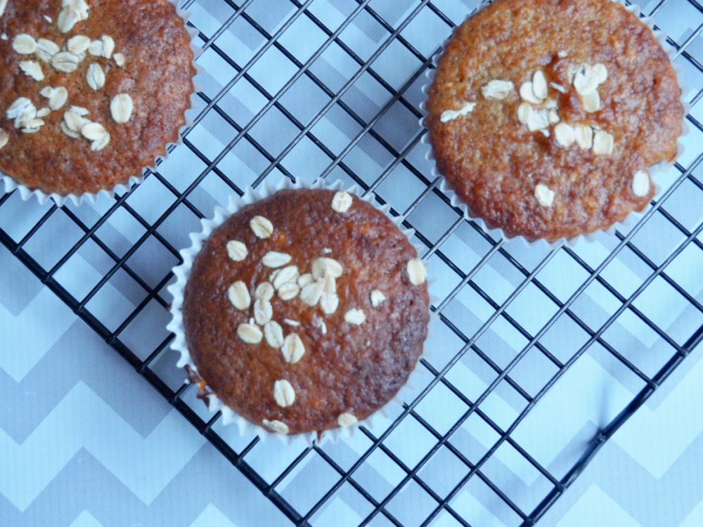 marmalade muffins on cooling rack from above