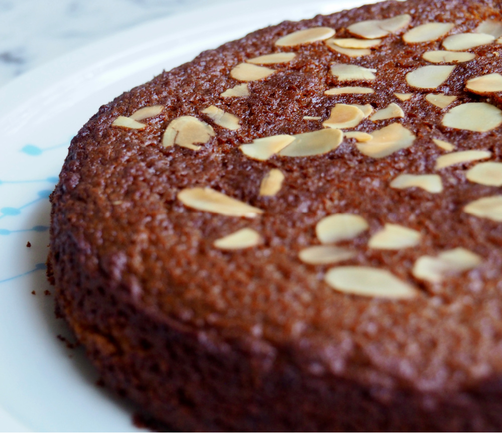 side view of dairy free honey cake