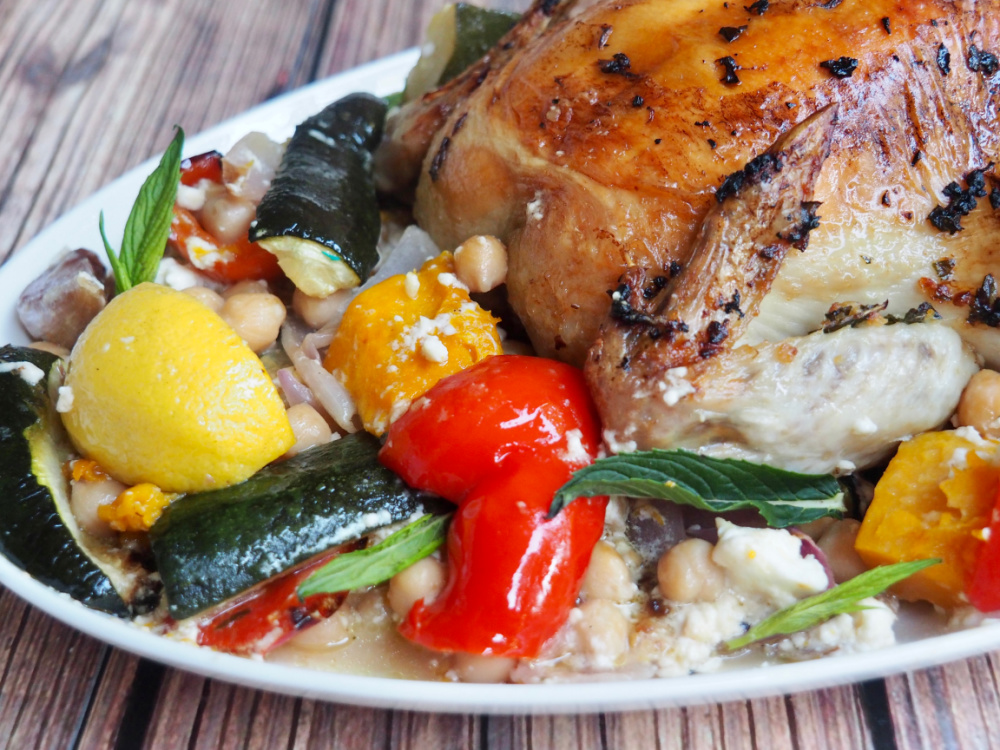 end of roast chicken with pumpkin and peppers