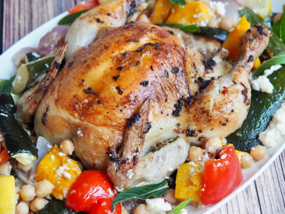 roast chicken with veggies and feta