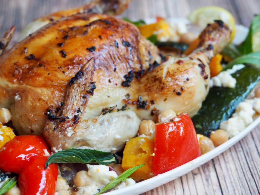 roast chicken veggie and feta traybake close up