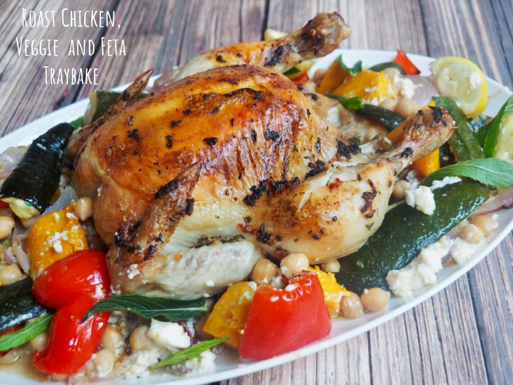 roast chicken veggie and feta traybake title